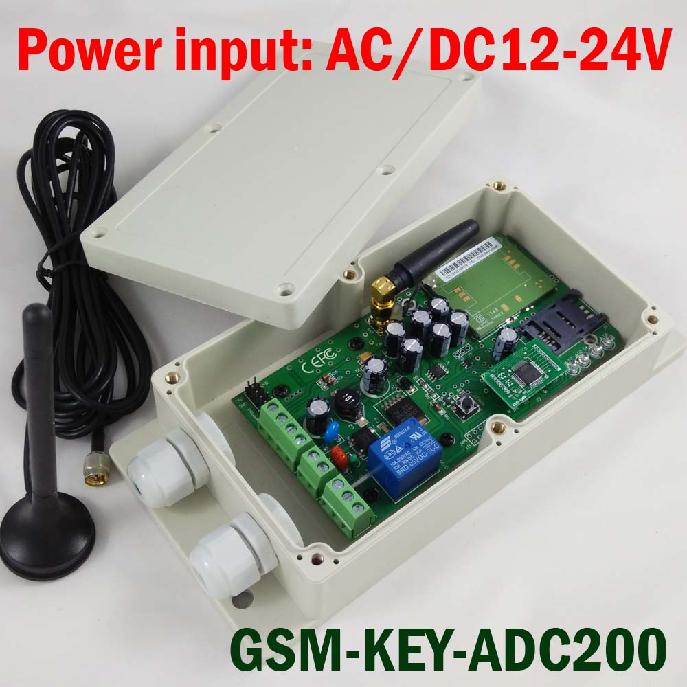 GSM-KEY-ADC200 GSM Remote controller SMS control box relay output switch  for sliding gate and automatic door access control